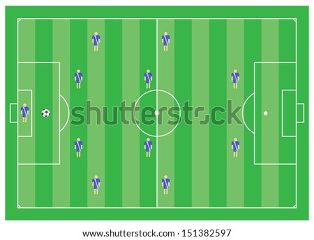 4-4-2 soccer tactical scheme - stock photo