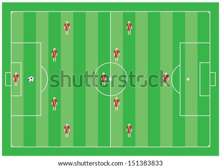 4-5-1 soccer tactical scheme - stock photo
