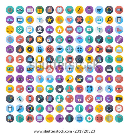 121 Social media and network icons.  - stock photo