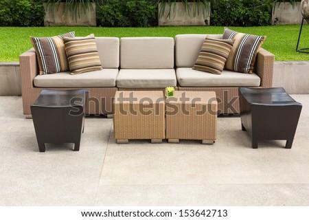 sofa in the garden - stock photo