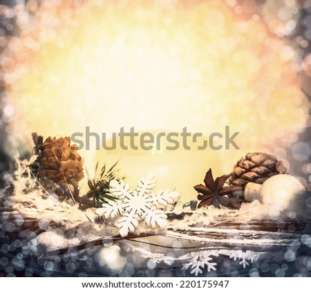 soft light of candles, decorations and snowflakes , Christmas background with bokeh - stock photo
