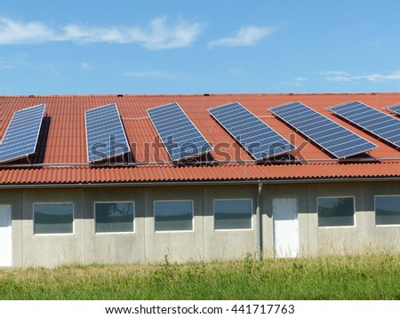 Solar collector, Electricity from sunlight.  - stock photo