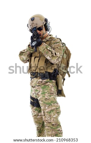 soldier targeting with rifle or sniper  ,isolated on white background - stock photo