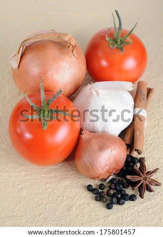 some spice things: onion, black pepper, cinamon, garlic - stock photo