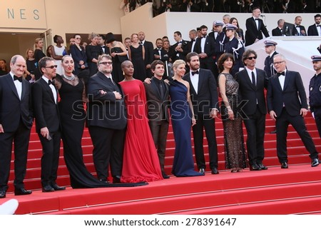 Sophie Marceau, Xavier Dolan, Sienna Miller, Jake Gyllenhaal attend the opening ceremony and 'La Tete Haute' premiere during the 68th annual Cannes Film Festival on May 13, 2015 in Cannes, France. - stock photo