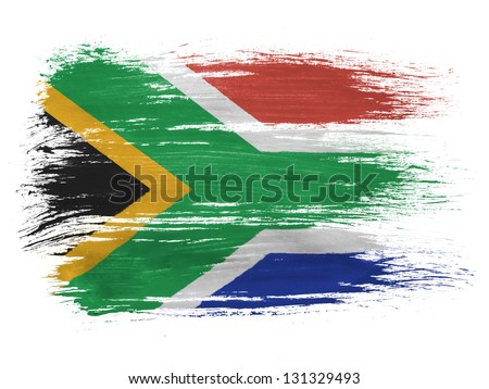 South African flag on white background - stock photo