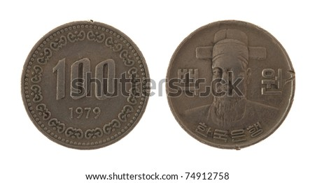 100 South Korean Won coin isolated on white - stock photo