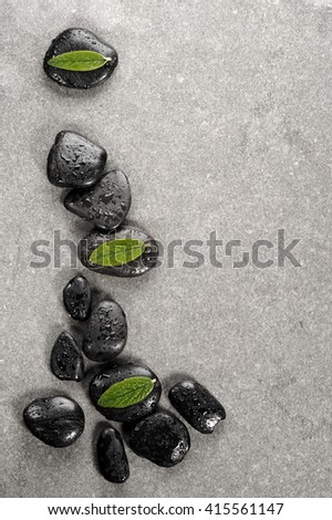spa basalt stones and green leaves with water drops - stock photo