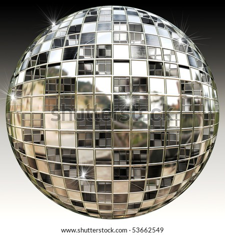 Sparkling Disco Party Mirror Ball - stock photo