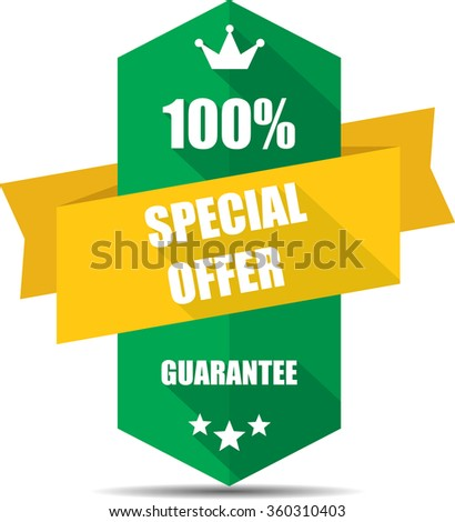 100% special offer green Label, Sticker, Tag, Sign And Icon Banner Business Concept, Design Modern With Crown.  - stock photo