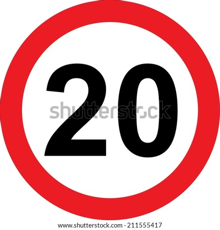 20 speed limitation road sign on white background - stock photo
