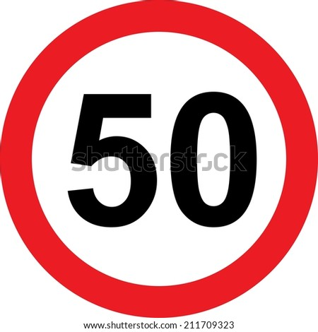 50 speed limitation road sign on white background - stock photo