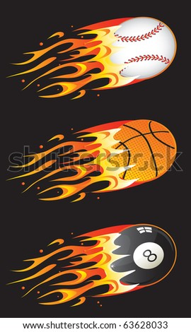 Sport balls in fire 01 - stock photo