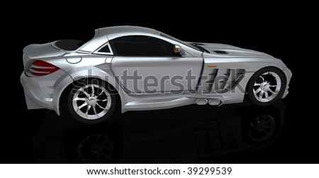 sports car side view - stock photo