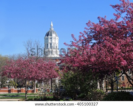 springtime at   Jesse hall  on the university of missouri campus, columbia, missouri         - stock photo