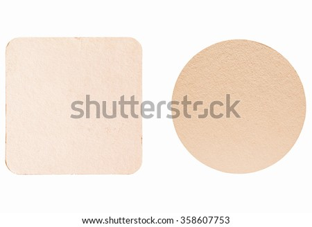 Square and round blank cardboard beermat for a pint of beer isolated over white background vintage - stock photo
