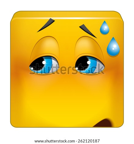 Square emoticon embarrassing situation - stock photo