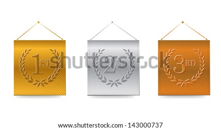 1st; 2nd; 3rd awards banners illustration design over white - stock photo