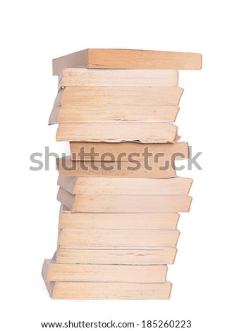 Stack of real books on white background  - stock photo