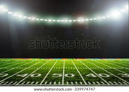 Stadium night, lit. with green grass - stock photo