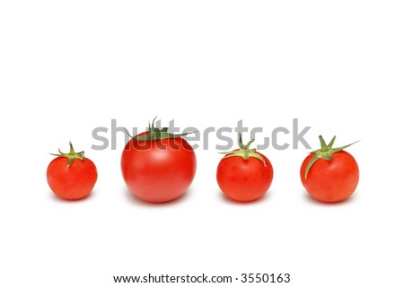 """Stand out from the crowd""  concept with tomatoes - stock photo"