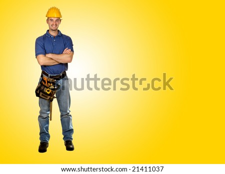 standing young worker with space for text - stock photo