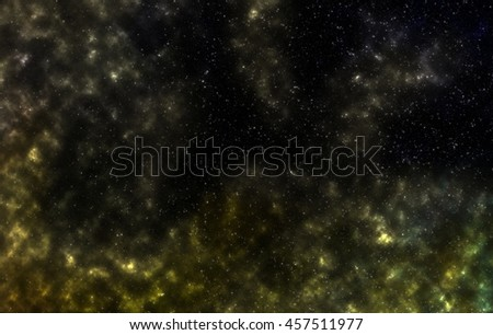 Star field in deep space many light years far from the Earth  . Studying of space . Space fog . Star field in space, a nebulae and a gas congestion .  - stock photo