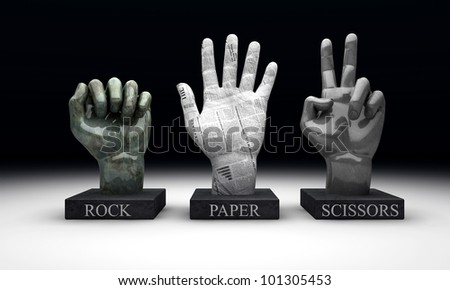 3 statuettes showing the hand-game rochambeau, made out of the hand gestures corresponding to the materials of rock, paper and scissors - stock photo