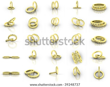 25 steams gold wedding rings - stock photo