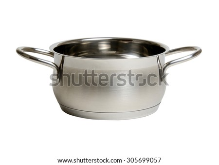 steel cooking pot isolated on white - stock photo