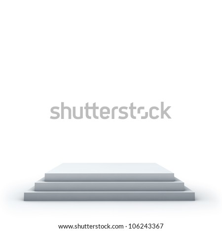 3 steps empty square podium on white background. - stock photo