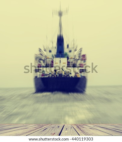 Stern of the ship in close up with working screw and rudder view back ship in the sea,Image blur style and vintage tone - stock photo