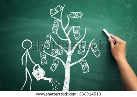 Stickman watering a money tree, sketch on green chalkboard - stock photo