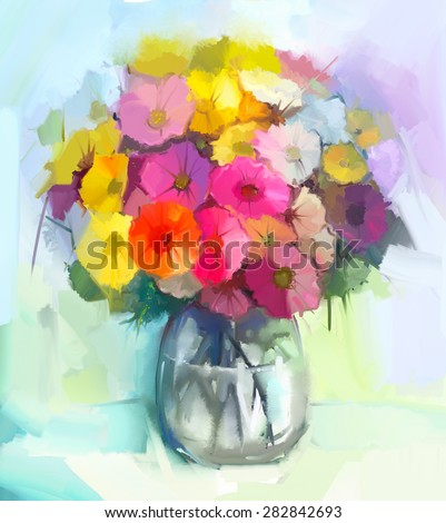 Still life of yellow and red gerbera flowers .Oil painting of a bouquet flowers in glass vase . Hand Painted floral Impressionist style - stock photo