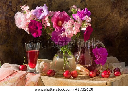 Still life with wine red - stock photo
