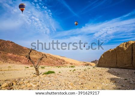 Stone desert near the seaside resort of Eilat. Three multi-colored balloons over the hot desert - stock photo