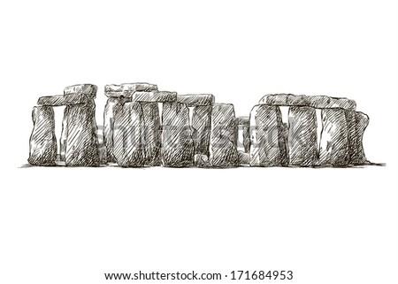 stonehenge drawing against white background - stock photo