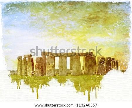 Stonehenge vintage dripping image on paper - stock photo