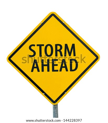 """STORM AHEAD"" traffic sign isolated on white background - stock photo"