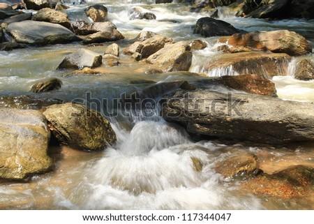 stream with stone - stock photo