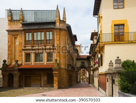 Street with arch at old part of Oviedo.  Spain - stock photo
