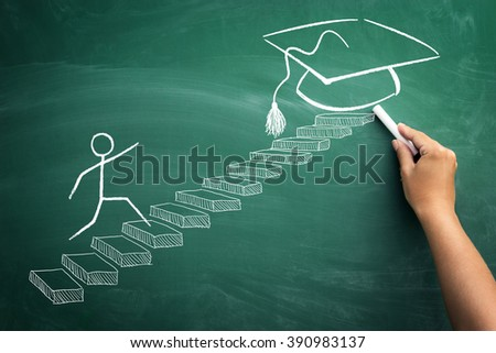 Student making steps to his graduation  - stock photo