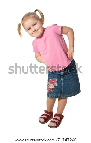 studio shot of little girl pose - stock photo