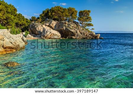 Stunning summer landscape with Adriatic Sea and rocky wonderful bay,Brela beach,Dalmatia,Croatia,Europe - stock photo