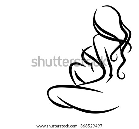 stylish  original hand-drawn graphic with beautiful young   girl model for design. Fashion, style, youth, fitness, sports, beauty. Graphic, sketch, drawing. Sexy body.  - stock photo