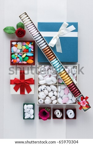 sugar almonds weddings in boxes - stock photo
