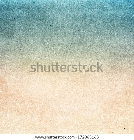 Summer beach recycled paper textured background with film grain.Abstract  grunge paper texture.  Highly detailed frame. - stock photo