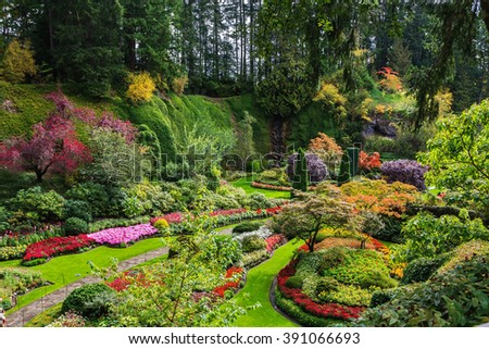 Sunken Garden - the central and beautiful part of park complex. Butchart Gardens - set of beautiful gardens on Vancouver Island, Canada - stock photo