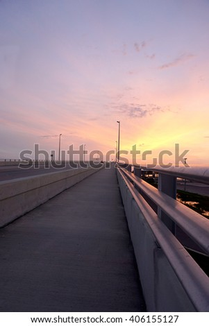 Sunset over a bridge/Sunset at Clearwater/Early evening sun set at Clearwater,Florida                         - stock photo