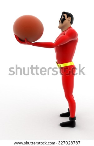 superhero with basket ball concept on white background - 3d rendering, side  angle view - stock photo
